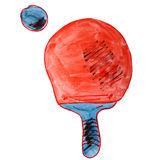 Drawing a children watercolor tennis, table Royalty Free Stock Photography