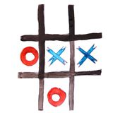 Drawing children watercolor Tic, Tac Toe cartoon on a white back Royalty Free Stock Photos