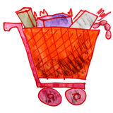 Drawing children watercolor trolley cartoon Royalty Free Stock Image