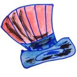 Drawing children watercolor vuvuzela cartoon on a. White background vector illustration