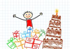 Drawing of chocolate cake Royalty Free Stock Photography
