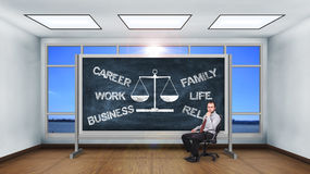 Drawing choose between career and family concept Stock Images