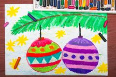 Drawing: Christmas balls Stock Photography