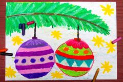 Drawing: Christmas balls Royalty Free Stock Photography