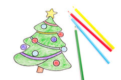 Drawing of a Christmas tree Stock Photography