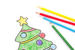 Drawing of a Christmas tree Royalty Free Stock Image