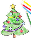 Drawing of a Christmas tree Stock Images