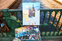 Drawing the Church of the Savior on Spilled Blood Royalty Free Stock Photos