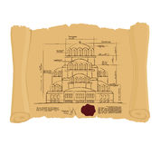 Drawing of Church Of St. Alexander Nevsky of ancient scroll. Ret Royalty Free Stock Photography