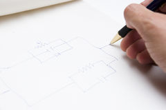 Drawing a circuit Royalty Free Stock Images