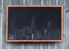 Drawing of a city on a blackboard Stock Photo