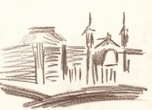 Drawing of the city with brown pencil, sketch Royalty Free Stock Photos