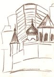 Drawing of the city with brown pencil, sketch Royalty Free Stock Images
