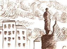Drawing of the city with brown pencil, sketch Stock Images