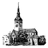 Drawing cityscape of Tallinn sketch  illustration Stock Images