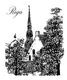 Drawing cityscape view old city of Riga  illustration Royalty Free Stock Image
