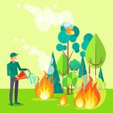 Drawing of Civilian Trying to Extinguish Fire. Drawing depicting civilian trying to put out fire. Vector illustration of man extinguishing wildfire that engulfed Stock Photo