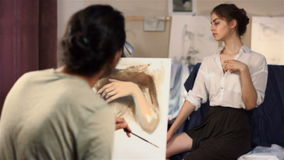 Drawing class for adults stock video footage