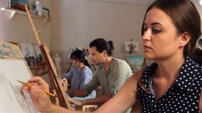 Drawing class for adults close-up stock footage