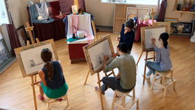 Drawing class for adults stock footage