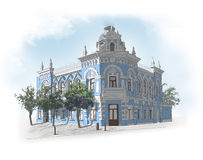 Drawing of a classic building. Drawing of a baroque classic building stock illustration
