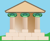 Drawing of Classical Building. Drawing of a strong, durable building with Ionic, fluted columns that reflect strength and would be appropriate for banking Royalty Free Stock Images