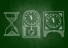 Drawing of clocks Royalty Free Stock Images