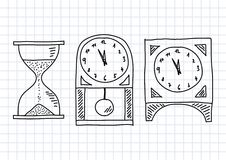 Drawing of clocks Stock Photo