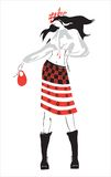 Drawing clothes. Vector drawing. Modern dress in the Ukrainian folk style Stock Photography