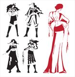 Drawing clothes. Vector drawing. Modern dress in the Ukrainian folk style Royalty Free Stock Photos
