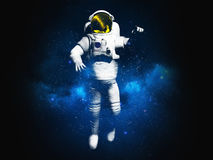 Drawing on clothes Astronaut posing on black background 3d rende Stock Photography