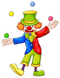 A drawing of a clown juggling Royalty Free Stock Images