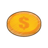Drawing coin dollar money currency icon. Vector illustration eps 10 Royalty Free Stock Image