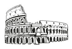 Drawing of Coliseum, Colosseum illustration in Rome, Italy. Vector black and white illustration Royalty Free Stock Images