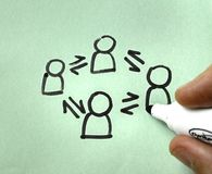Drawing of Collaboration showing a hand with a pen Royalty Free Stock Photography