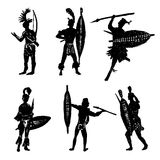 Drawing collection of silhouettes of African tribal warriors in the battle suit and arms hand drawn  illustration Royalty Free Stock Images