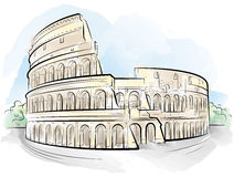 Drawing color Colosseum, Rome, Italy Royalty Free Stock Images