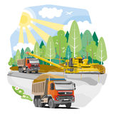 Drawing color dump trucks construction of the road Stock Photos