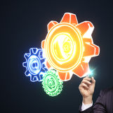 Drawing color gears Royalty Free Stock Images