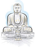 Drawing color giant Buddha monument in Kamakura Stock Photography