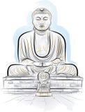 Drawing color giant Buddha monument in Kamakura stock illustration