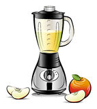Drawing color kitchen blender with Apple juice Royalty Free Stock Images