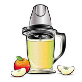 Drawing color kitchen blender with Apple juice Stock Photo