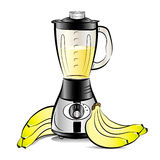 Drawing color kitchen blender with Bananas juice Stock Photos