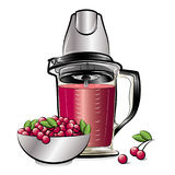 Drawing color kitchen blender with Cherry juice Royalty Free Stock Photo