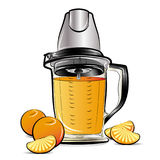 Drawing color kitchen blender with Orange juice Royalty Free Stock Images