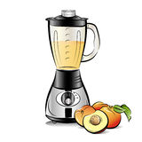 Drawing color kitchen blender with Peach juice Royalty Free Stock Photography