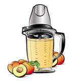 Drawing color kitchen blender with Peach juice Royalty Free Stock Images