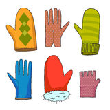 Drawing color mittens vector illustration