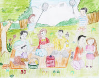 Drawing of color pencil. That showing of happy family. Mother, father and child on green garden Stock Image